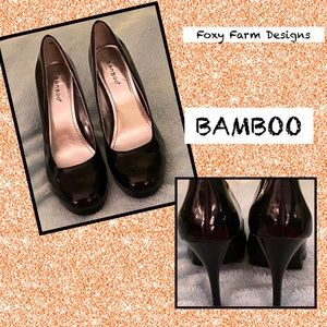 NWT BAMBOO BLK PATENT LEATHER HEELS SZ 10